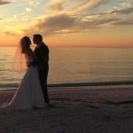 Anna Maria Island sunset for bride and groom at Beach House Restaurant