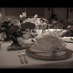 Ritz Carlton wedding reception table setting by Leslie Harris Senac of Visions Unlimited Video Productions